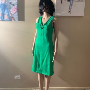 Ralph Lauren size XS green ribbed dress length 39""